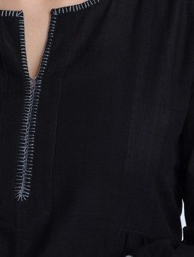 Black-Grey Handwoven Mangalgiri Cotton Gathered Kurta by Jaypore
