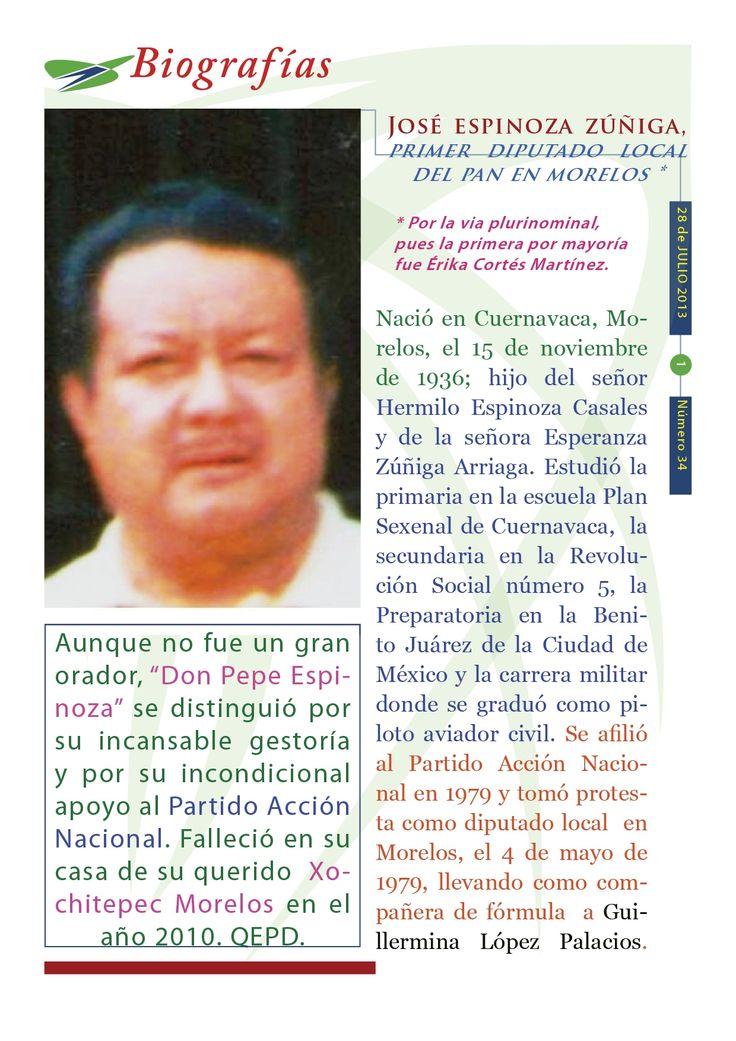 Cápsula histórica del Humanismo Político número 34, editada por el CDE del PAN en Morelos, con el tema: José Espinoza Zúñiga.