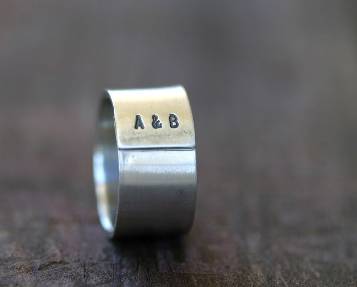 Custom Initials Sterling Silver Band Ring Mens or Womans