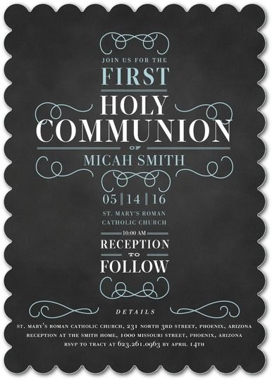 Rightfully Just: Boy - Communion Invitations in Peppermint or Stream | Elk Design