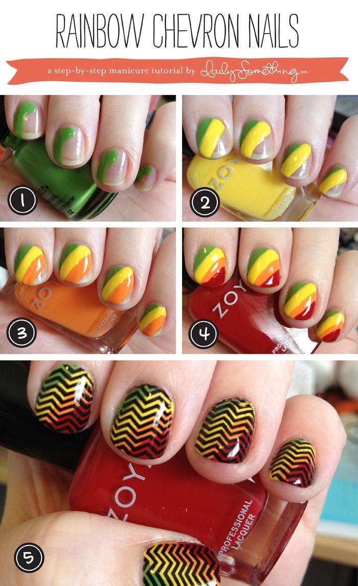 Rainbow Chevron Nails