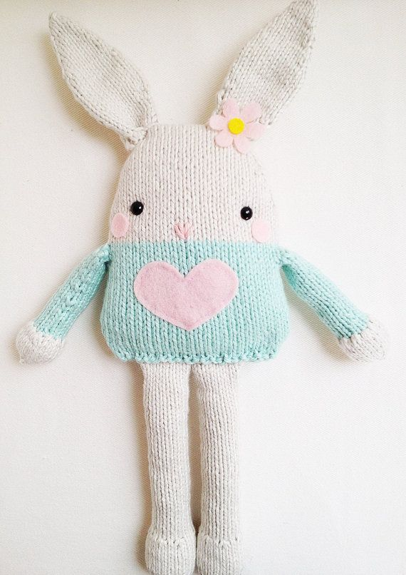 Easter Bunny Knitting Pattern : Bunny Knitting Pattern - Toy Easter Bunny Softie Pattern - PDF