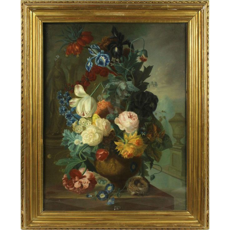 A Bouquet of Flowers Against Architecture, 19th Century, pastel on cardboard