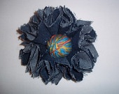 Blue jean flower brooch with multicolor threads