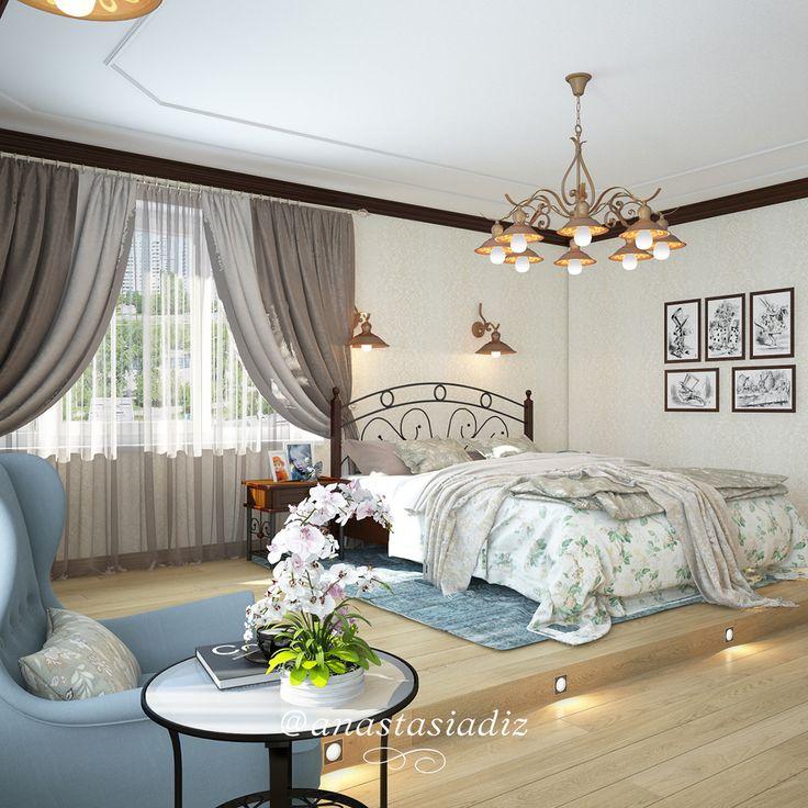 """Вернемся к деталям. Помимо светлых стен и белья, мы подчеркнули такую деталь, как сочетание освещения и пола, цвет, тон - чтобы Ваша спальня засияла! А люстра и бра становятся еще выразительнее в сочетании с кованной спинкой кровати и прикроватной мебелью. Ваша спальня - угол отдыха и комфорта, поэтому свет не должен быть ярким и мы создали """"островки"""" романтического света! Ведь именно дизайн ламп существенно влияет на стиль комнаты #спальня #русскиедизайнеры #инстаграм #стиль #красота…"""