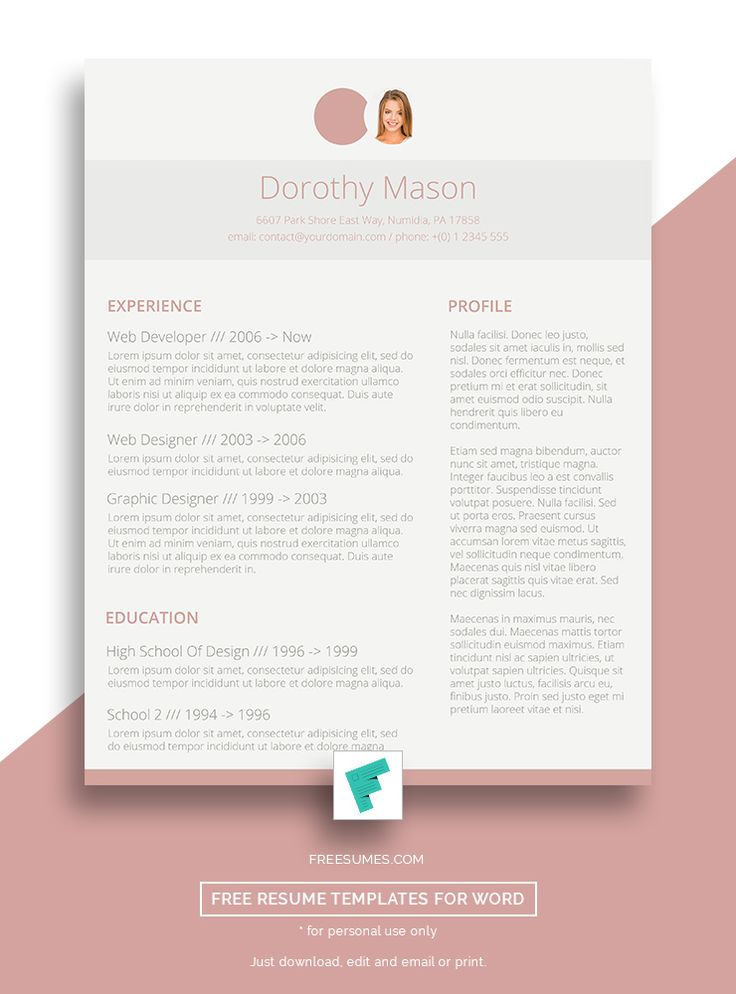 75 best Free Resume Templates For Word images on Pinterest Blush - template for resume free