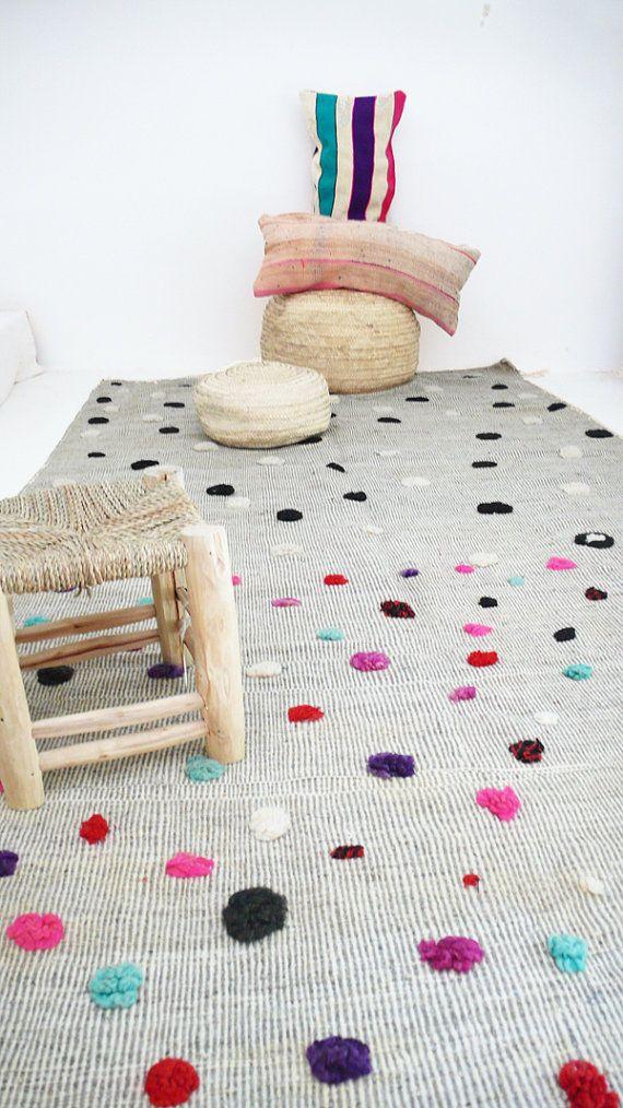 Vintage marroquí alfombra de lana  Lana color por lacasadecoto