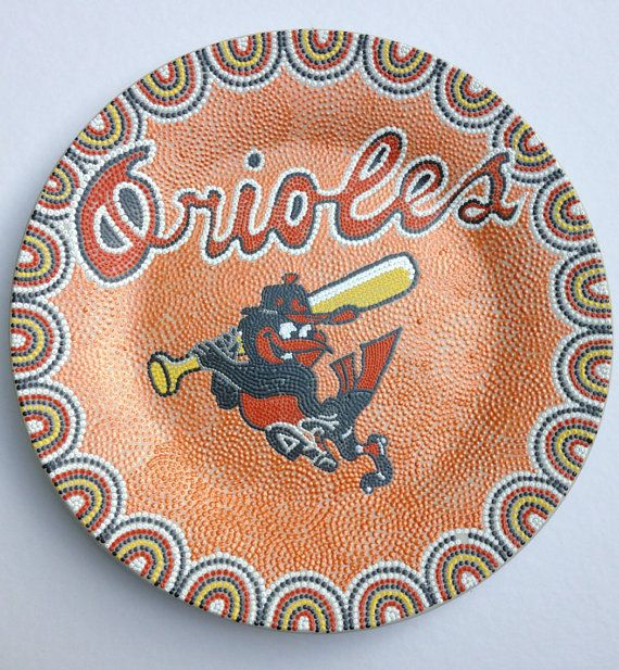 Handpainted decorative plate Baltimore Orioles / Dot Art / point to point on Etsy $65.00  sc 1 st  Pinterest & 17 best Hand painted plates. images on Pinterest | Painted plates ...