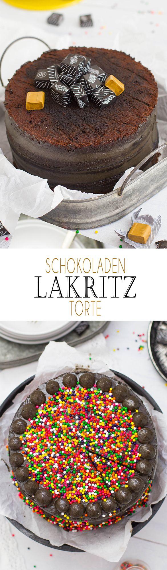 Chocolate licorice Cake with Sprinkles and licoriceToffee | Schokoladen Lakritz Torte mit bunten Streuseln und Lakritz Toffee