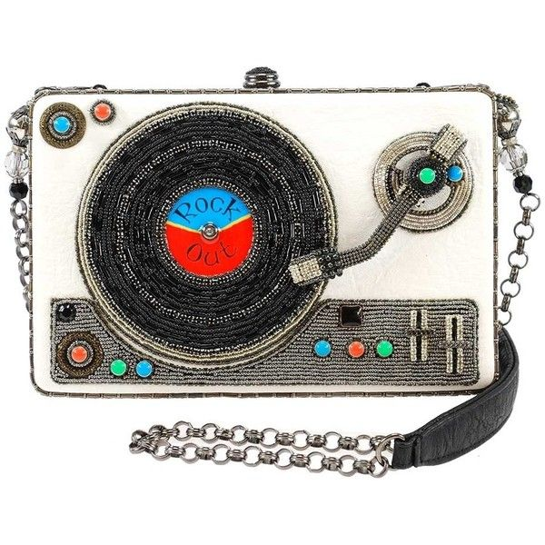 Rock Out Beaded Record Player Novelty Handbag (960 PEN) ❤ liked on Polyvore featuring bags, handbags, beaded, embellish, hand bags, embellished bag, rock purses, beaded purse and rock handbags
