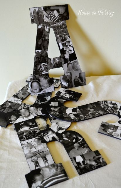 diy photo collage letters wall decor, design d cor, diy home crafts, Simple supplies are needed for this great craft