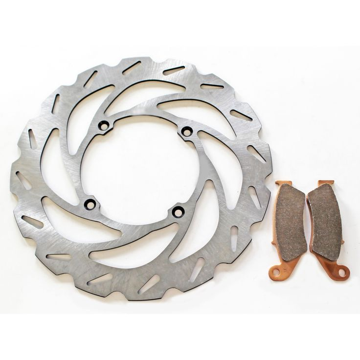 1994 - 2002 Kawasaki KX250 Front RipTide Brake Rotor and Severe Duty Brake Pads, Silver stainless steel
