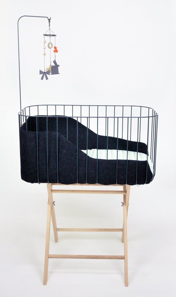 &me baby crib, charcoal grey with dark grey felt