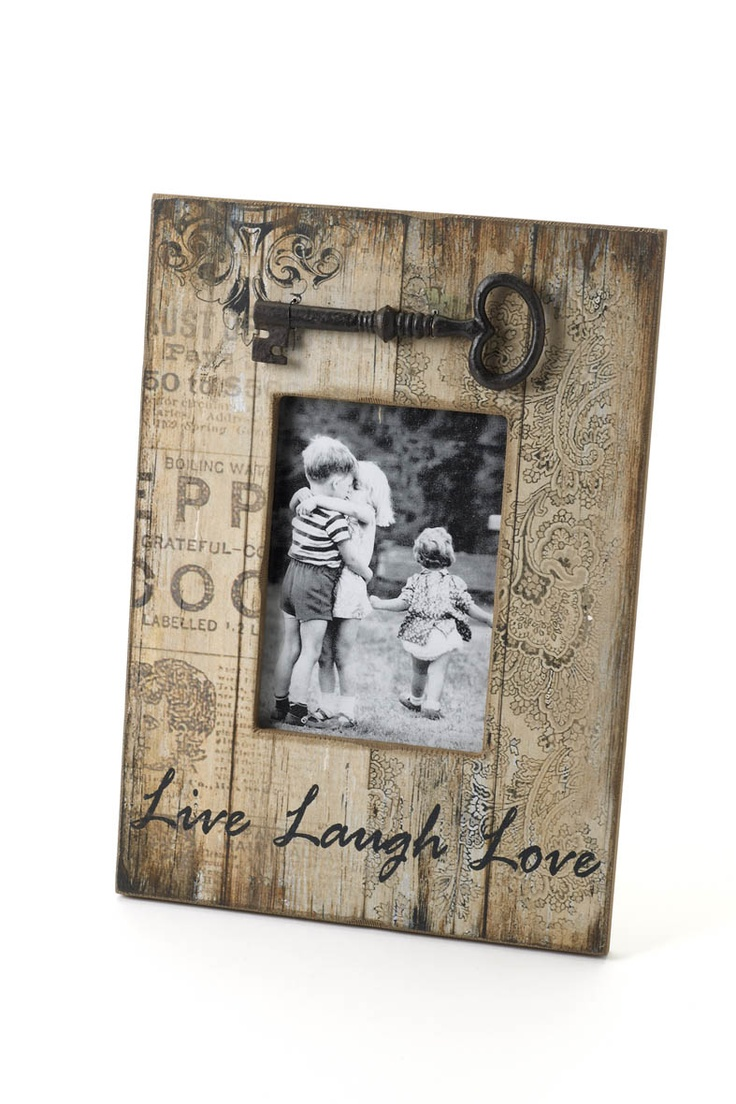 "Prim ""Live-Laugh-Love"" Photo Frame...with skeleton key..."