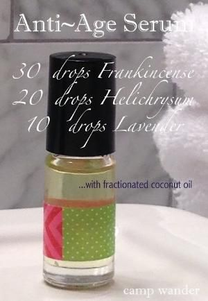 Anti-Age Serum 30 drops Frankincense, 20 drops Helichrysum, 10 drops Lavender mixed with fractionated coconut oil. by Terry Berens Germundsen