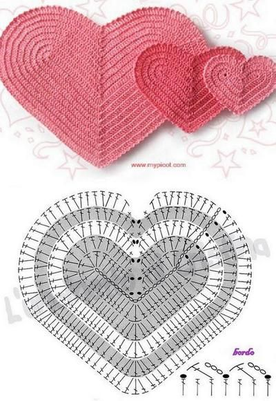 Blog de marlycroche :Artesanato Sem Limite!, coração com grafico