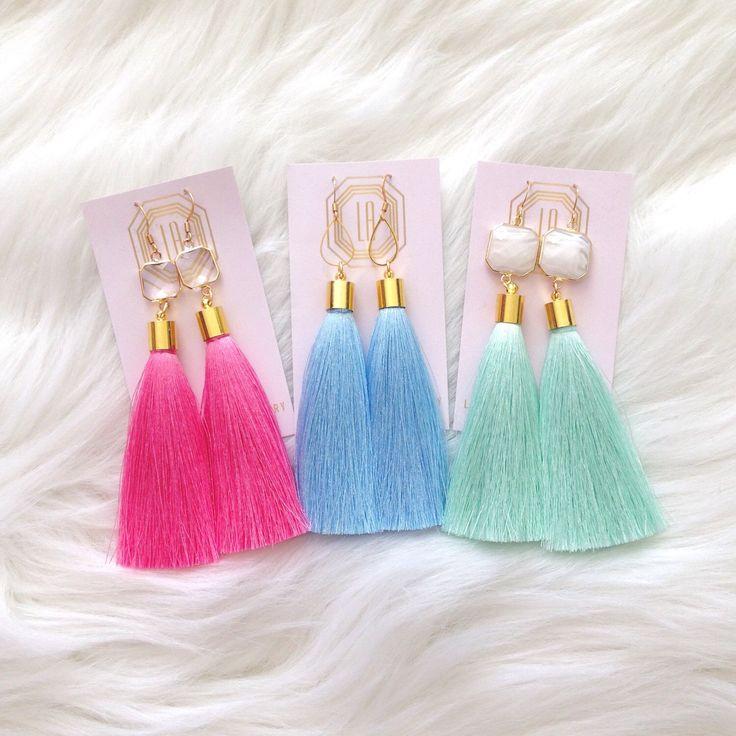 Spring Tassel Earrings by LovesAffect on Etsy https://www.etsy.com/listing/220785465/spring-tassel-earrings