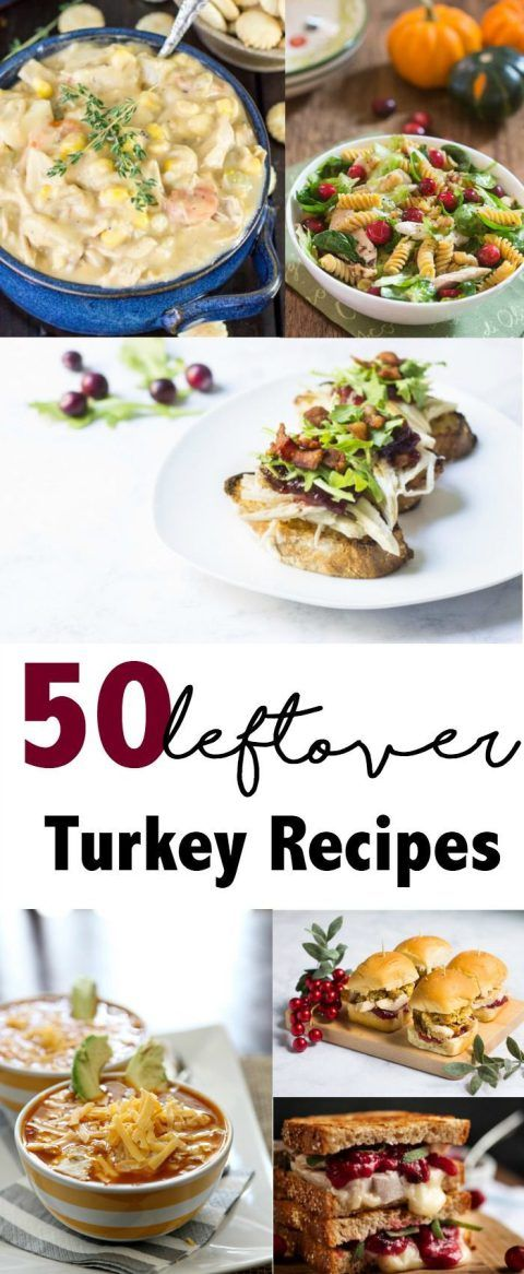 HUGE list of 50 Leftover Turkey Recipes. Perfect for that turkey leftover from Thanksgiving. Soups, casseroles, chili, pizzas, sandwiches and more.