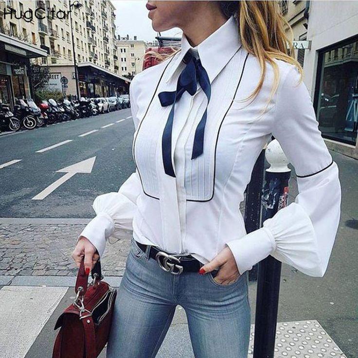 Hugcitar New Fashion Office Blouses Women Lantern Sleeve Button Down Shirts Femme Elegant White Tunic Tops 2017 Summer Autumn #Affiliate