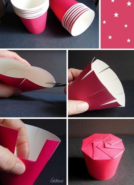 Last Minute Geschenkverpackung: Boxen aus simplen Pappbechern machen und nach Belieben dekorieren. Eignet sich auch als Mitgebsel für den Kindergeburtstag.