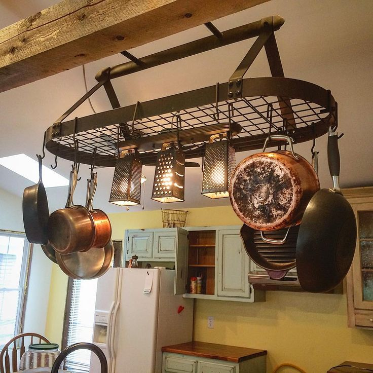 hanging pot rack with lights more - Kitchen Pot Rack Ideas