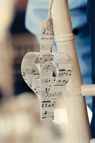 Dottie Photography real wedding inspiration #vintage #handmade #music #score #hearts #chairs #decoration
