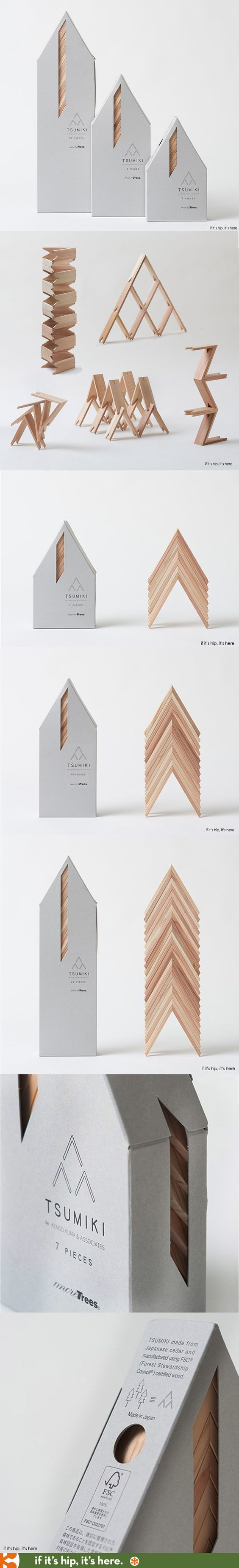 Japanese architect Kengo Kuma has collaborated with forest conservation organization More Trees to produce a set of beautifully packaged and unusually designed building blocks for children.: