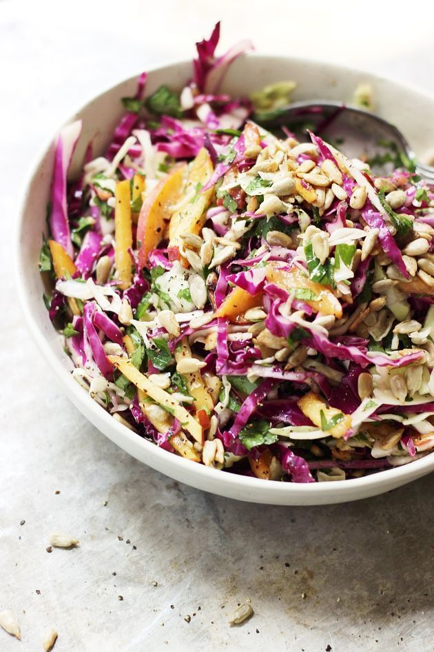 summer slaw with peaches and sunflower seeds.
