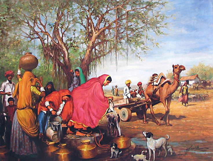 Rajasthani Village Well (Reprint on Paper - Unframed)) India ...