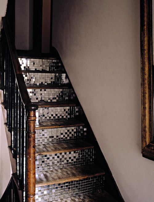 Mosaic stairs: Discos Ball, Idea, Glasses Tile, Stairs Risers, Mirror Tile, Tile Stairs, House, Mosaics Tile, Stairways