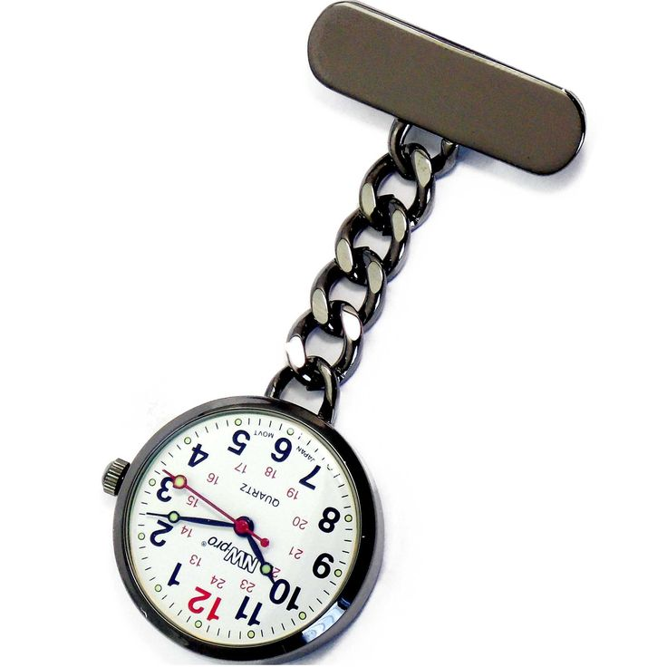 NW-Pro Lapel Nurse Watch - Large White Dial - Water Resistant - Chained - Gunmetal