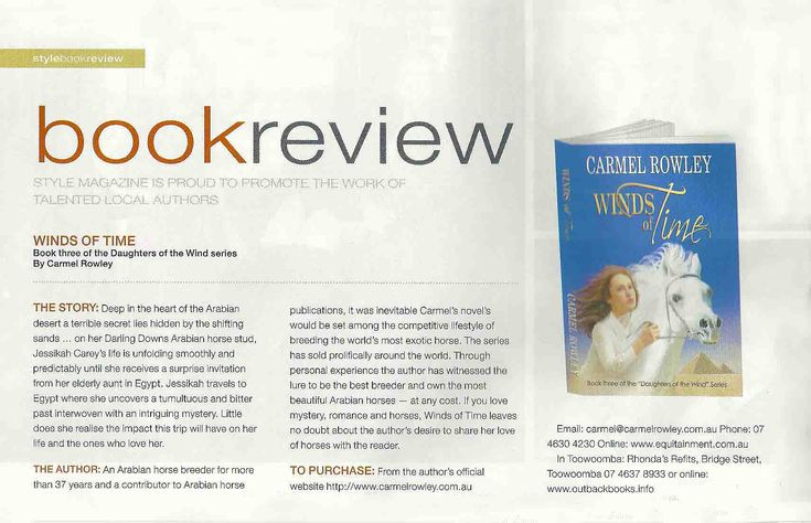 Thanks Style Magazine Toowoomba for your great Winds of Time review.