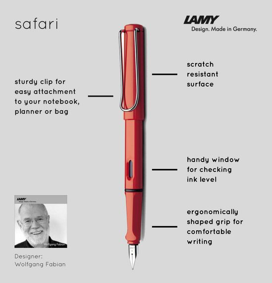 For the complete picture. The name says it all: The popular youngster's fountain pen is available in a transparent model, allowing a clear view of its inner workings. Made of robust, transparent plastic, with chrome-plated clip and silver Lamy logo. The LAMY vista is available as a fountain pen, ballpoint pen, mechanical pencil and rollerball pen.