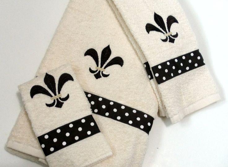 Embroidery Flore De Lis Ribbon Dots Brown on Cream Bath Towel Hand Towel Wash Cloth