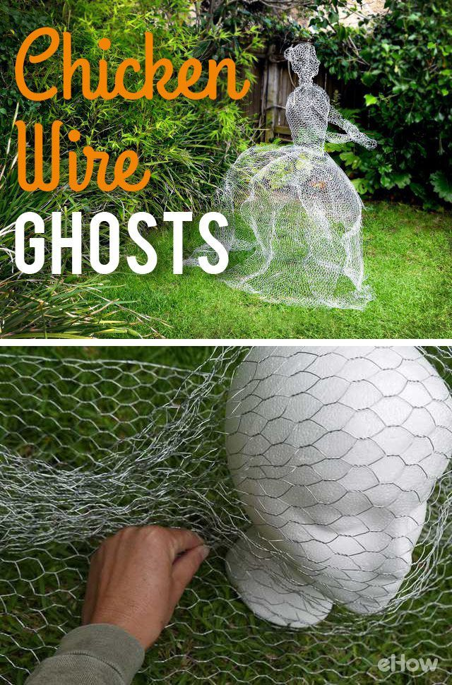 Make a life sized ghost using chicken wire. The wire gives the ghost a barely there feel, and will sit sturdily on a lawn. Great idea for a haunted house this halloween!