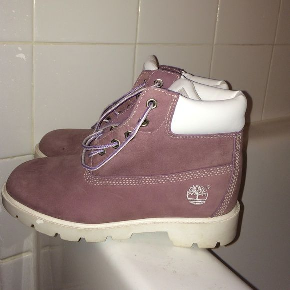 Timberland Boots Light purple Timberland boots!! Used once in MiNt condition! Size 3! Preferably fits a kid! I took the insoles out so they need newmones you can get at any store for $3 bucks. Timberland Shoes