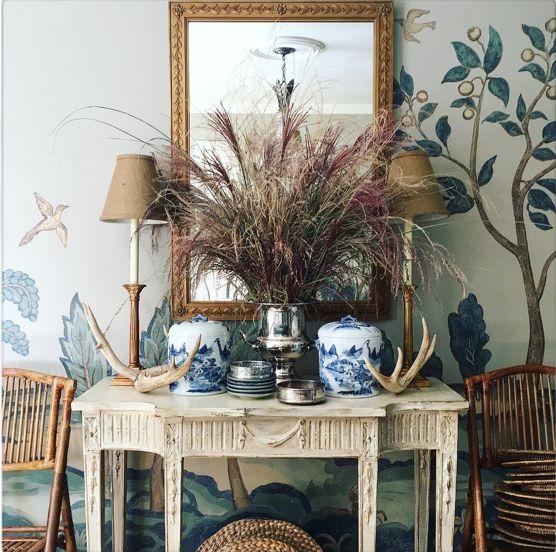 fall entertaining setup with wheat and beautiful china