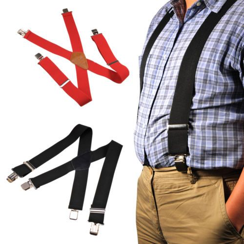 "US-Deals Cars 2"" 50mm Wide Mens X-Back X Shape Heavy Duty Trousers Brace Suspenders Black Red: $9.99 End Date: Friday Mar-2-2018…%#USDeals%"
