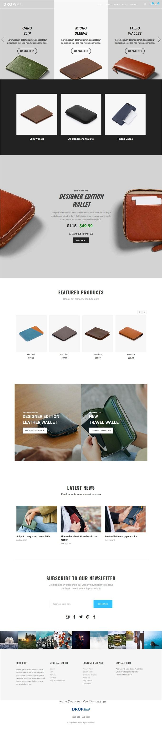 Dropship is clean and modern design responsive #HTML5 template for #wallet shop stunning #eCommerce website with 5 unique homepage layouts download now..