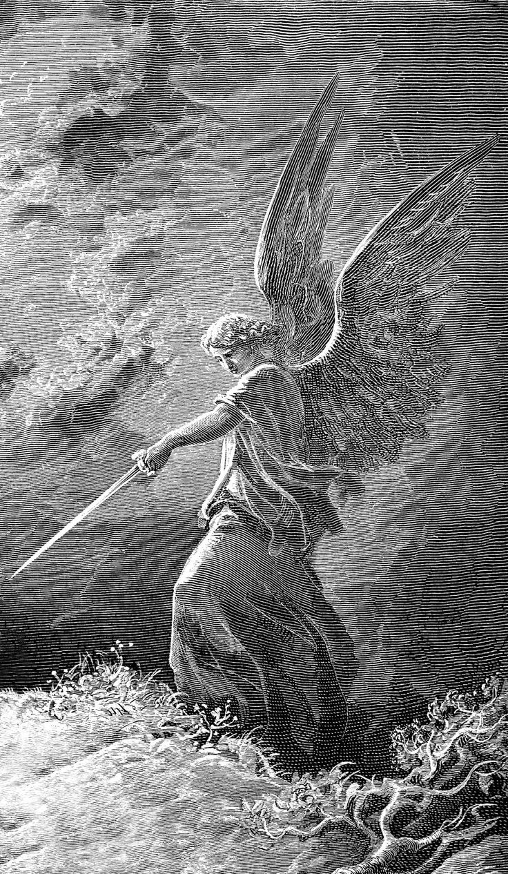 """ DORÉ, Gustave (1832-1883) An Angel Appears to Balaam (Num 23:15-35), (detail, inv.) 1866 Engraving Ed. Orig. Lic. Ed. """