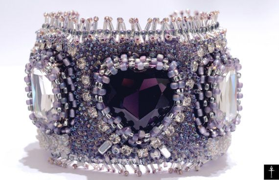 Handmade Crystal Heart Fashion Jewelry Cuff  Embroidery by BYTWINS