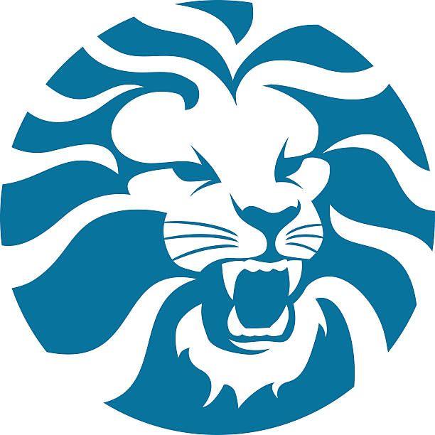 Arrabbiato cerchio testa di leone - illustrazione arte vettoriale