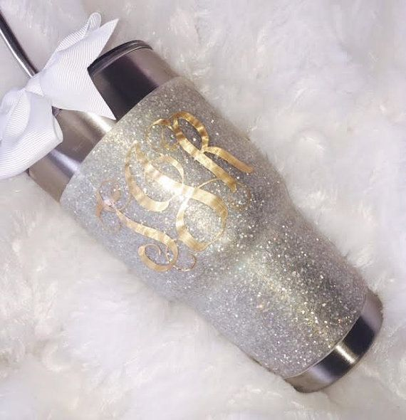 Glitter Yeti Rambler in Large White with Lid & Bow by GlitterYeti