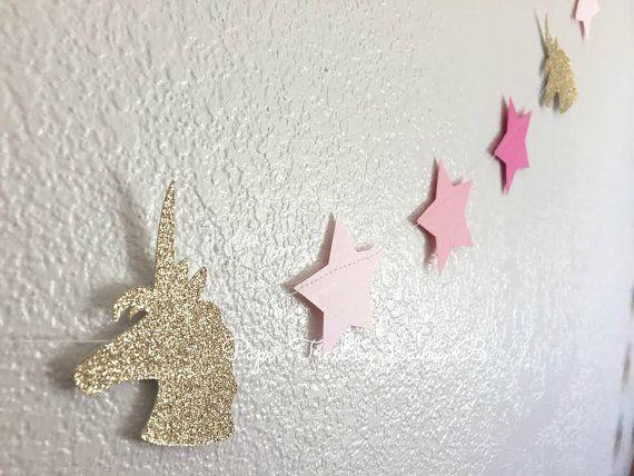 Licorne fête guirlande de paillettes dor et par PaperTrailbyLauraB