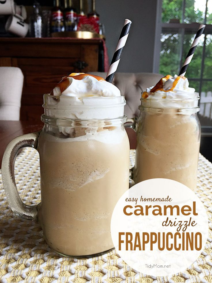 save money and calories and make this easy CARAMEL DRIZZLE FRAPPUCCINO at home…