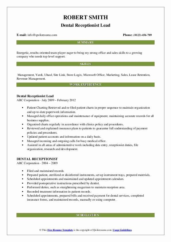 27 Dental Receptionist Job Description Resume In 2020 Resume