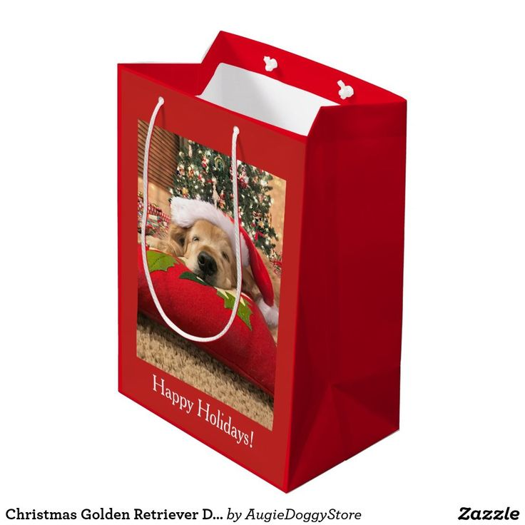 Christmas Golden Retriever Dog Asleep Under Tree Medium Gift Bag | Zazzle.com