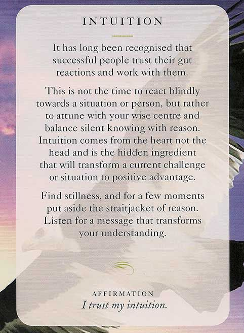 Using your intuition wisely is key. I love the do not react blindly sentence.