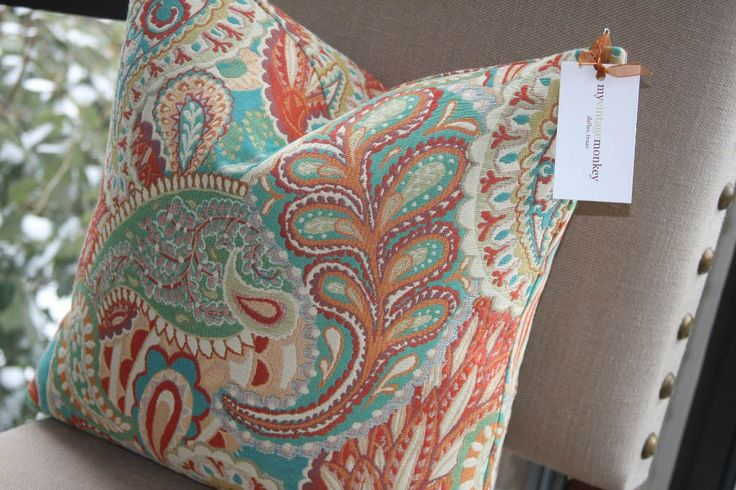 Paisley Pillow Cover / Coral / Turquoise / Cream / Green /  18x18. $48.00, via Etsy.