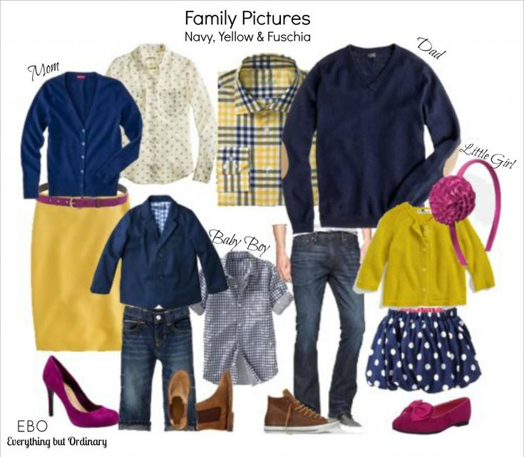 Family Picture Outfit Ideas - Navy, Yellow and Fuschia  Everything but Ordinary Blog